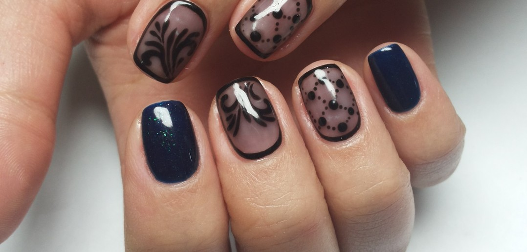 Дизайн с черным цветом ногти