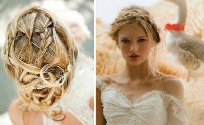 свадебные прически в форме косы