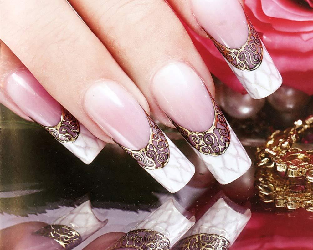 Свадебный дизайн на длинные ногти
