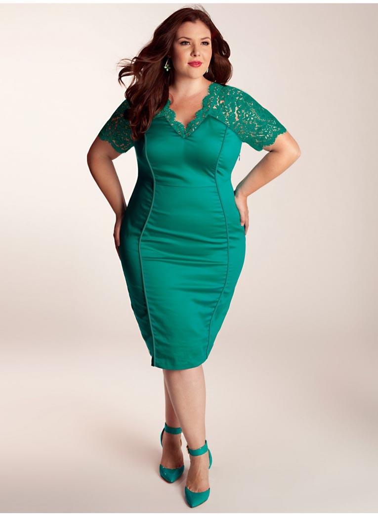 Зелёные платья на полных