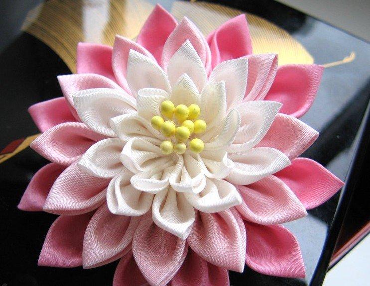 Цветы канзаши из лент своими руками пошаговое фото канзаши