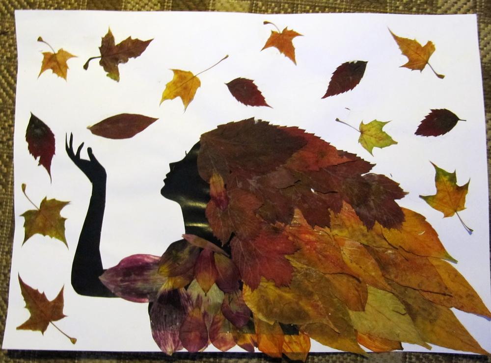 Девушка осень поделка из листьев