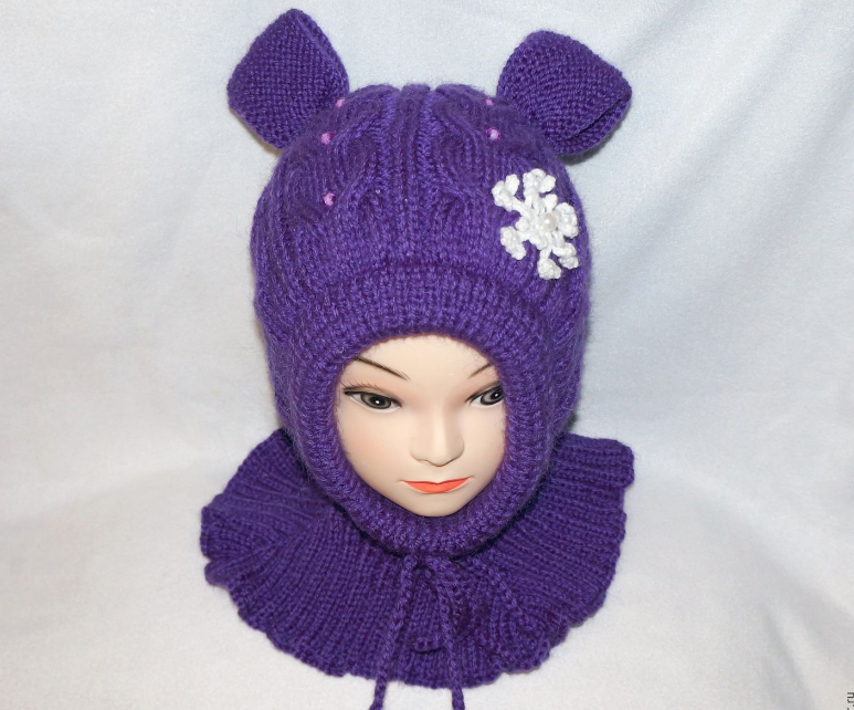 Вязание для девочек шапка шлем 430