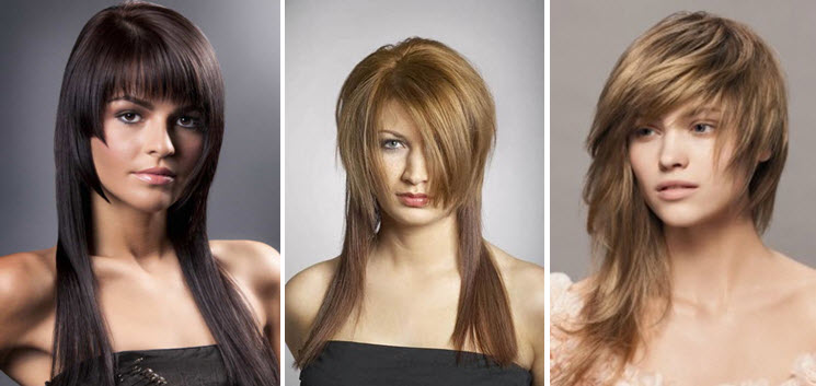 Стрижка асимметрия на средние волосы с челкой фото
