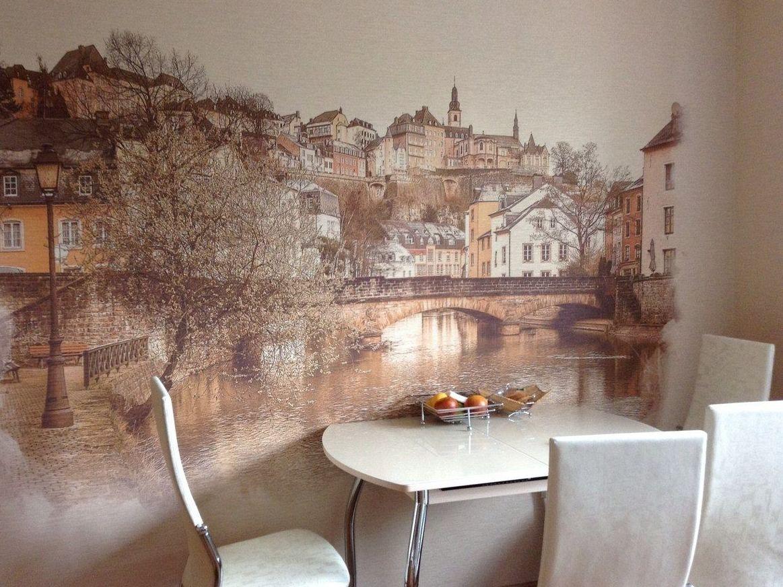 Обои на кухню рисунок город