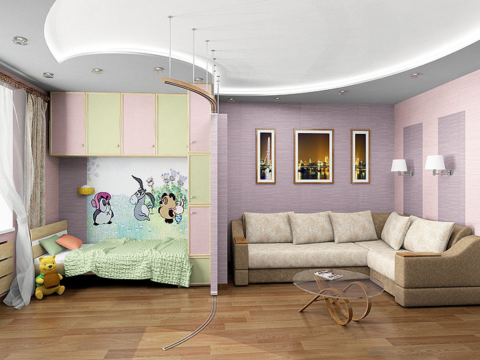 Как из однокомнатной квартиры сделать детскую и гостиную