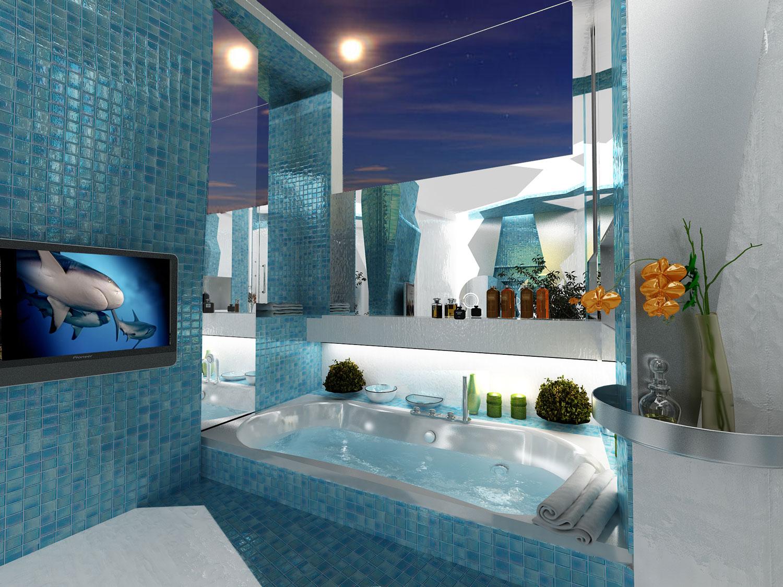 Необычный дизайн маленькой ванной комнаты