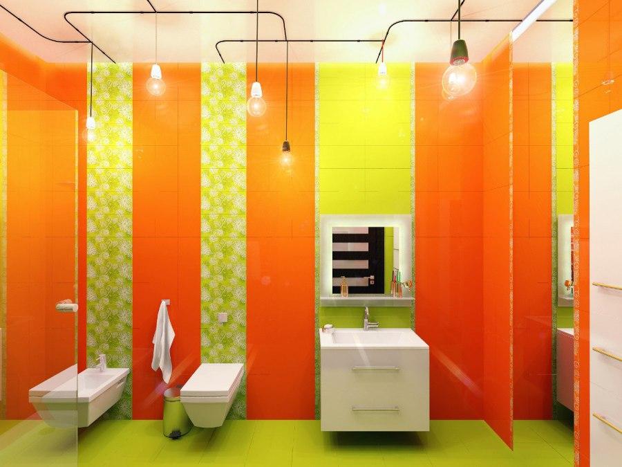 Фото оранжевой ванной комнаты дизайн