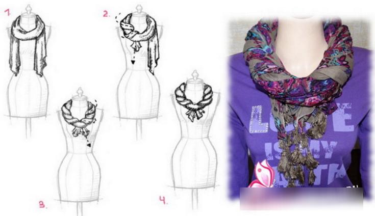 Как завязать палантин на платье