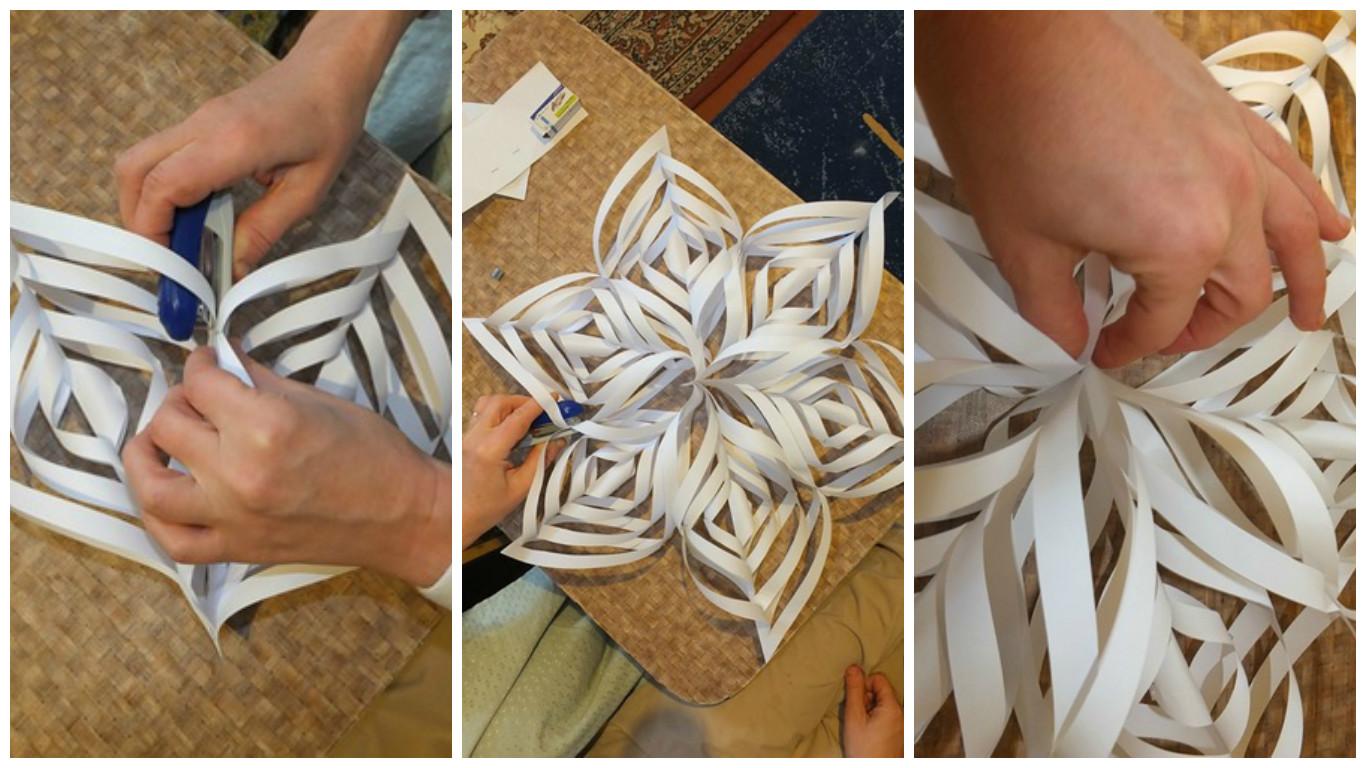 Как сделать большую объёмную снежинку из бумаги своими руками 38