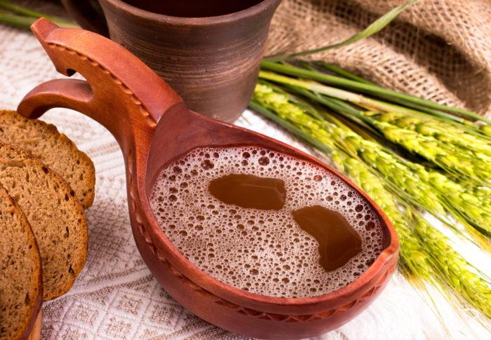 Kvass still-life.Fermented russian traditional beverage.