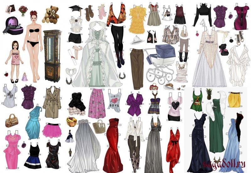 Распечатать платья для бумажных кукол