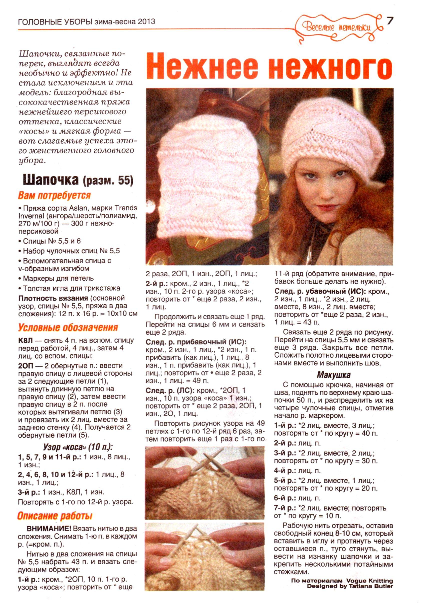 Вязание шапки спицами для женщин модные модели 2016 года с описанием фото для