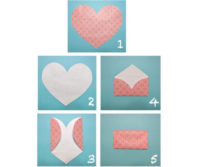 Как сделать конверт из бумаги с сердечками