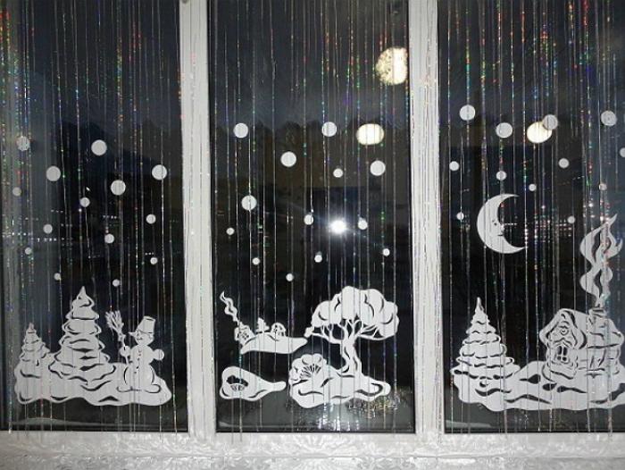Декор на окна к новому году