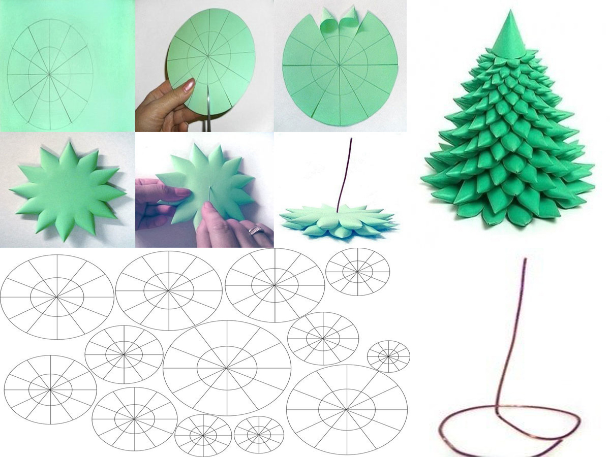 Объемная елка как сделать