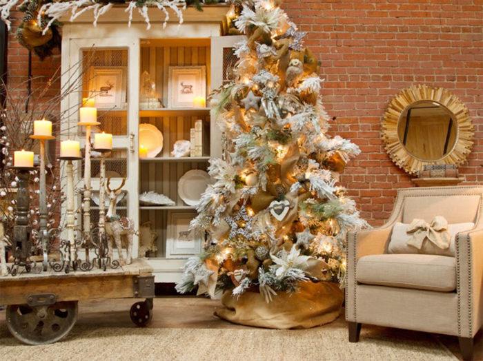 Украшение елки в стиле шебби