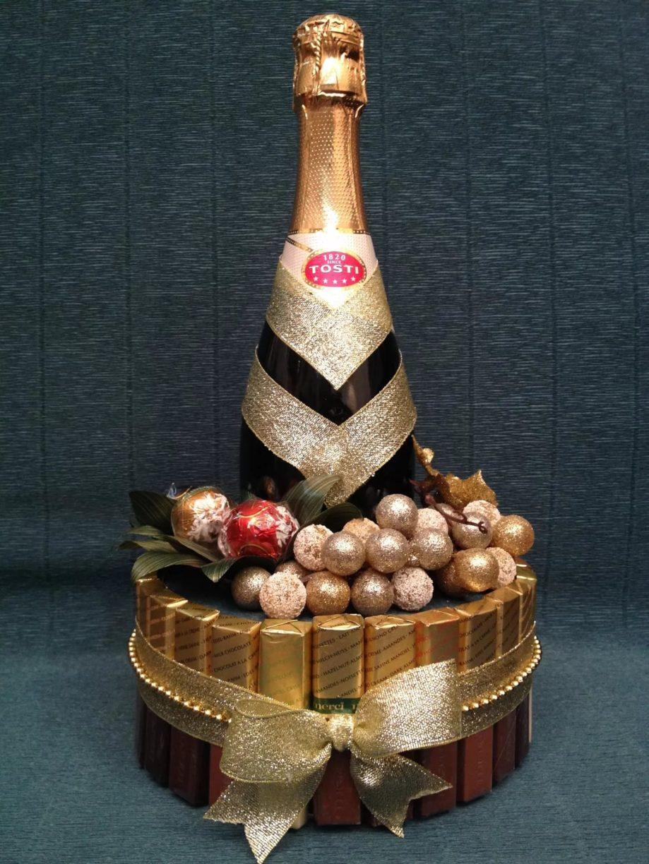Подарок из конфет с шампанским своими руками 551