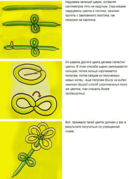 Цветы из шаров своими руками пошаговая инструкция для