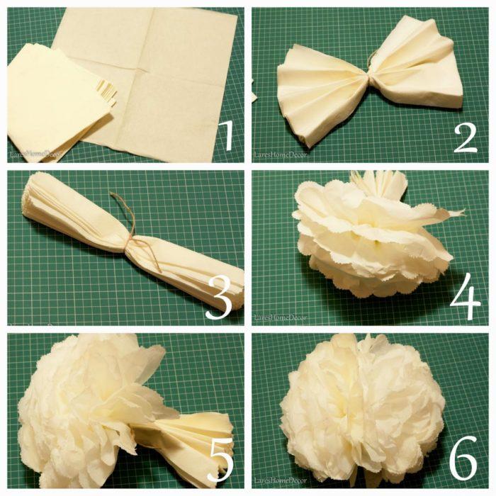 Как сделать помпон своими руками из салфеток