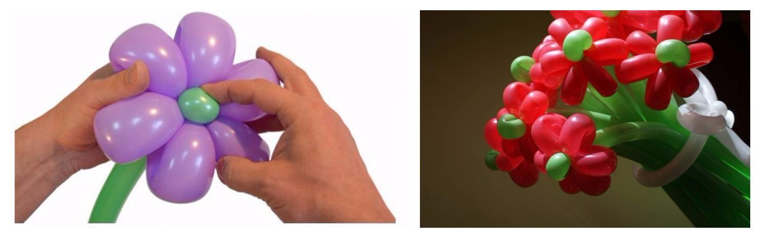 Как сделать ромашки из шариков колбасок
