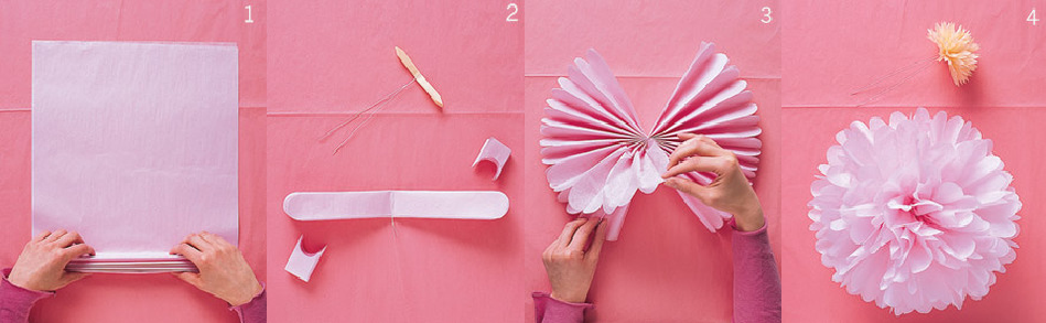 Помпон из креповой бумаги своими руками