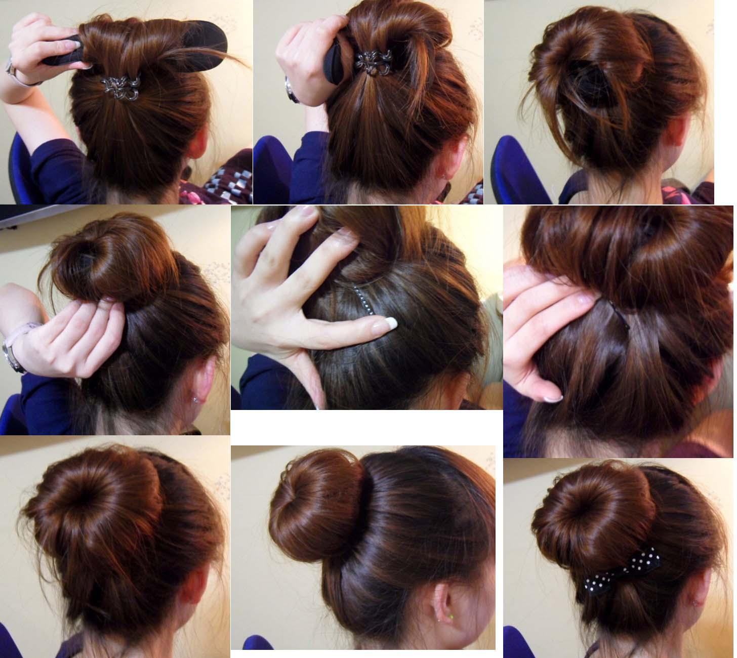 Пучок с помощью бублика на длинные волосы пошагово