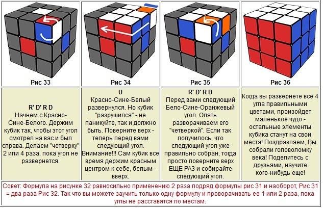 Самый простая схема сборки кубика рубика