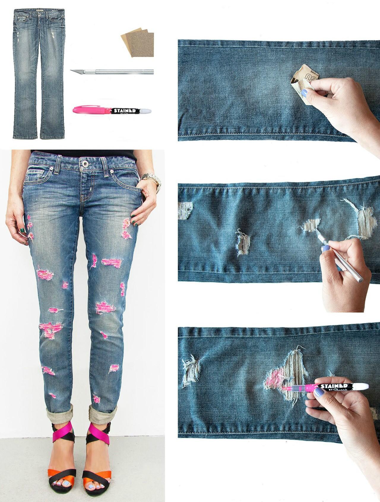 Как сделать маленькие дырки на джинсах своими руками 29