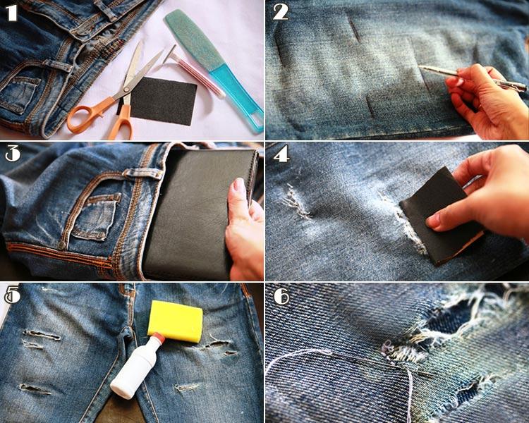 Как сделать дырки на джинсах в домашних условиях на коленях