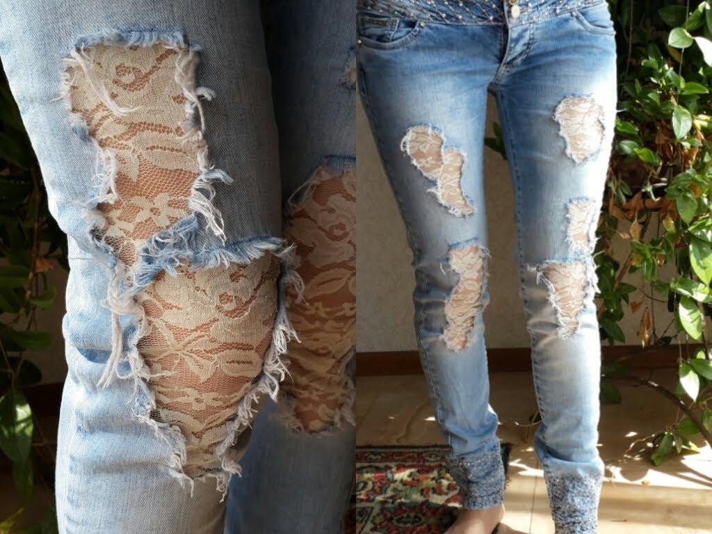 Гипюр на джинсах своими руками 32