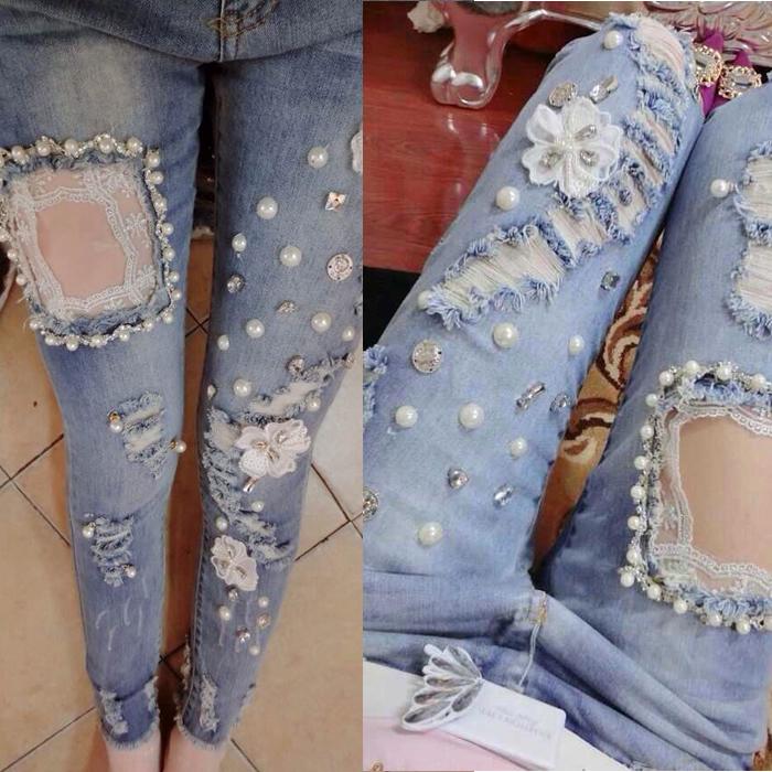 Как можно украсить джинсы своими руками фото женские поэтапно 74