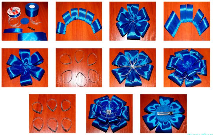 Бантики из атласных лент своими руками схемы 20