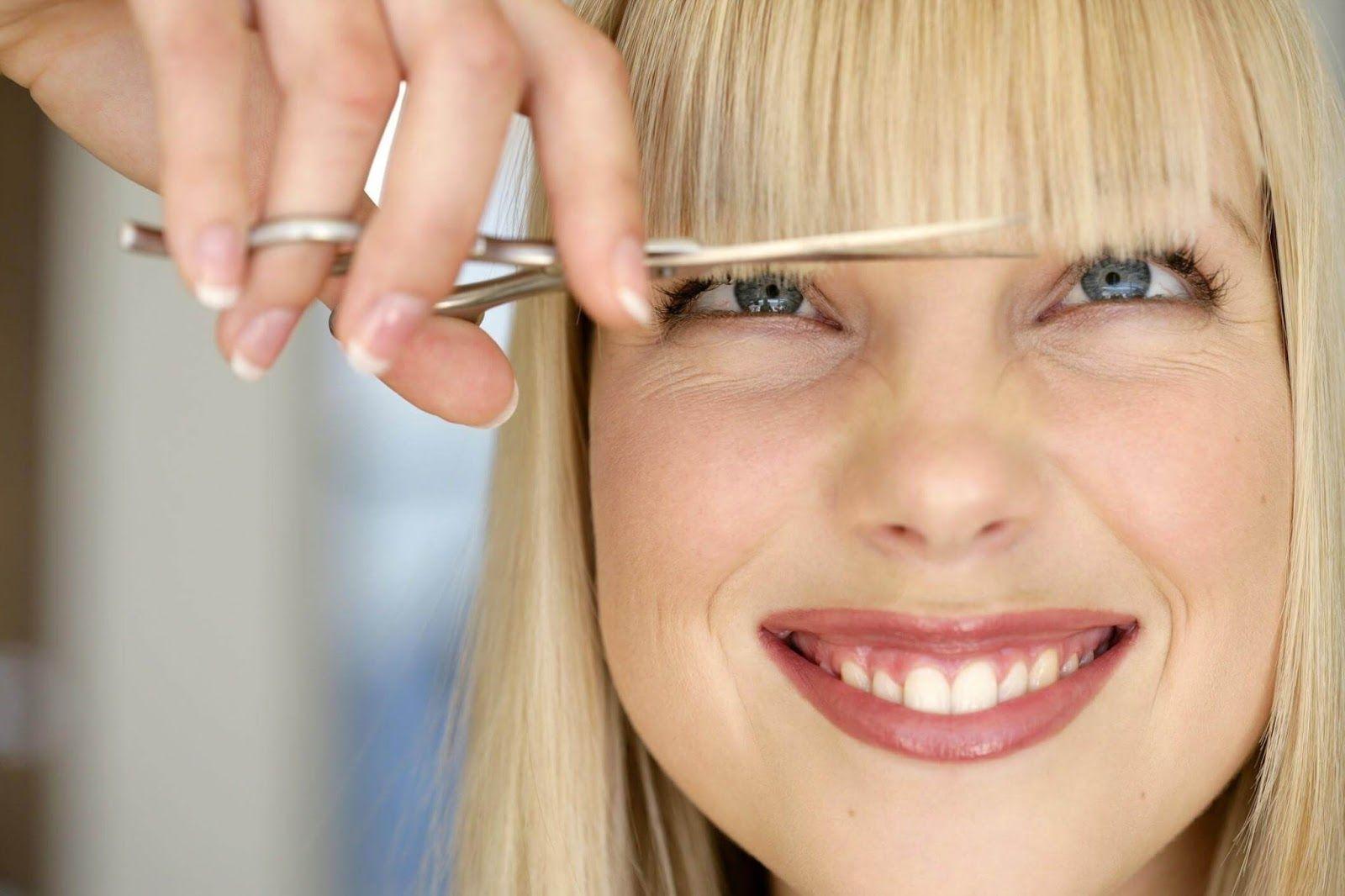 Как сделать косую челку из прямой фото