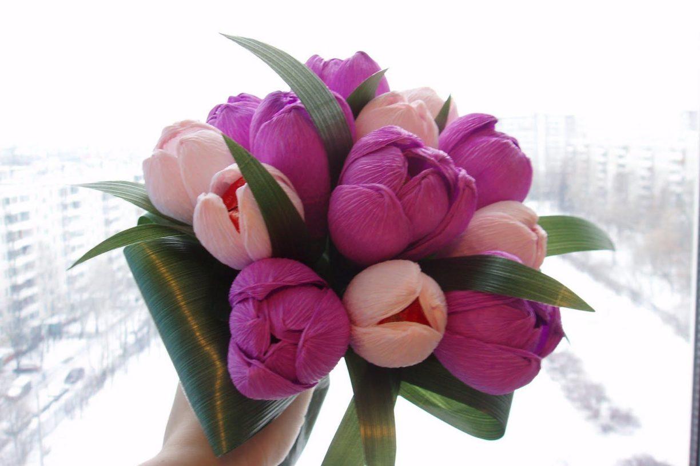 Букеты из конфет своими руками пошаговое фото для начинающих тюльпаны