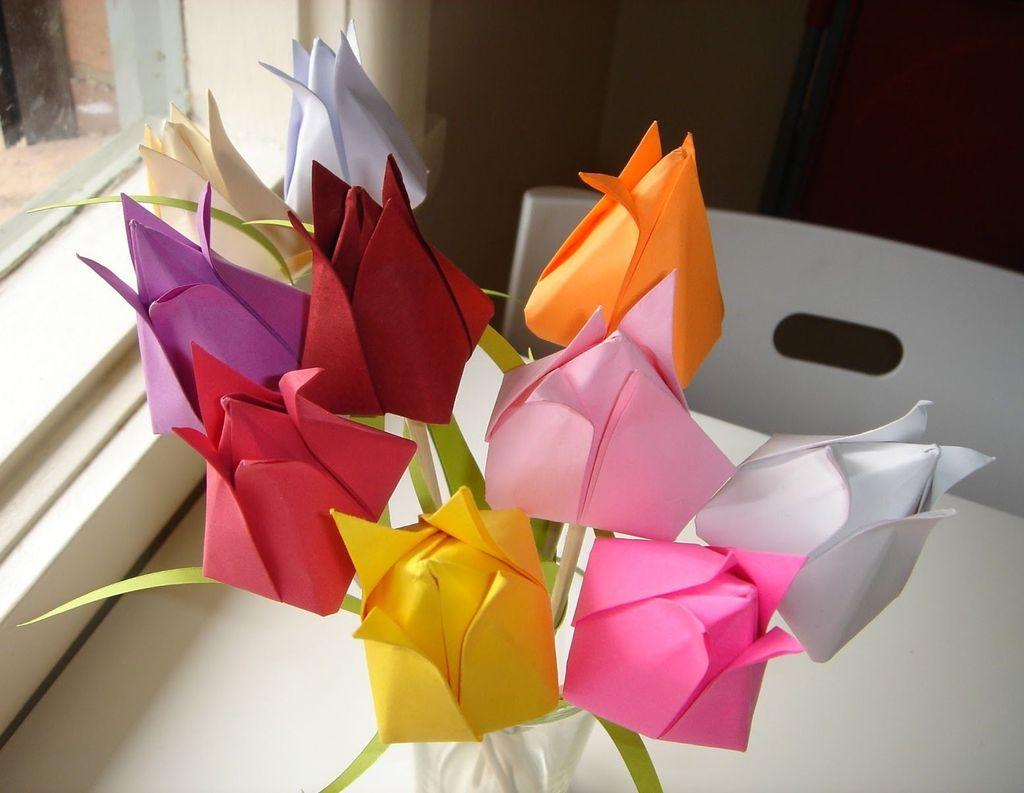 Тюльпан из бумаги своими руками пошаговая инструкция фото 903