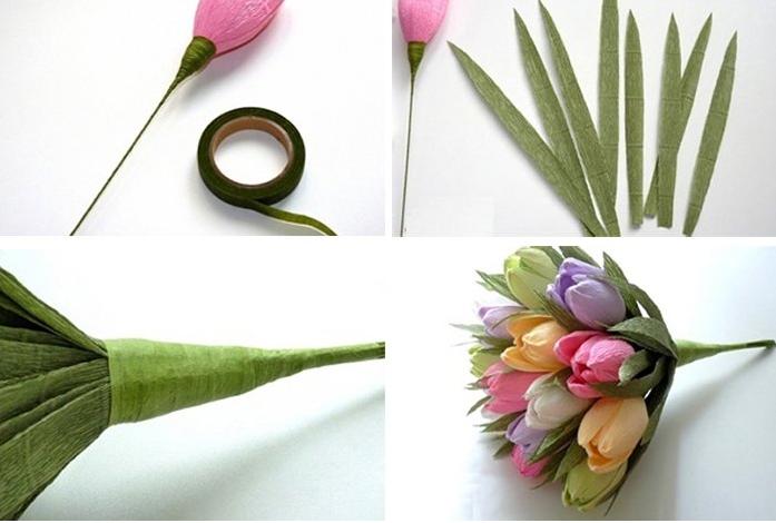 Как сделать из гофрированной бумаги тюльпаны своими руками 100