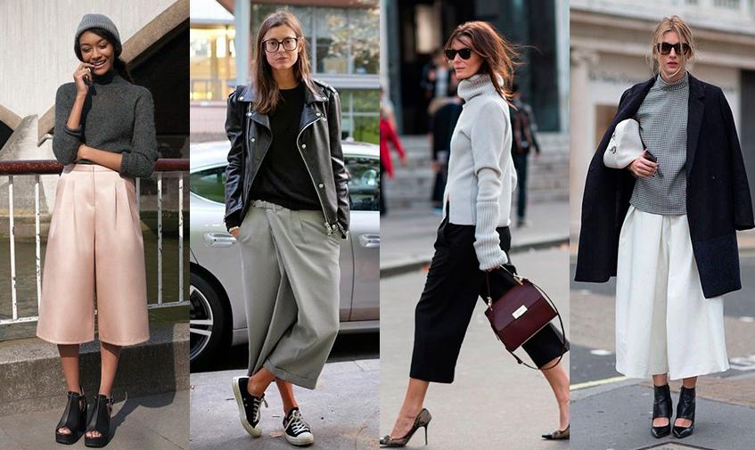 С чем носить брюки-кюлоты девушке Фото. Летом, осенью, зимой, весной. Популярные фасоны изоражения