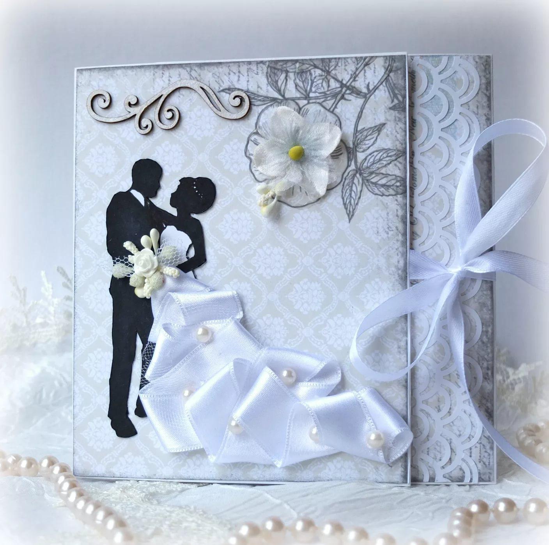 Скрапбукинг к свадьбе открытки, кожаной