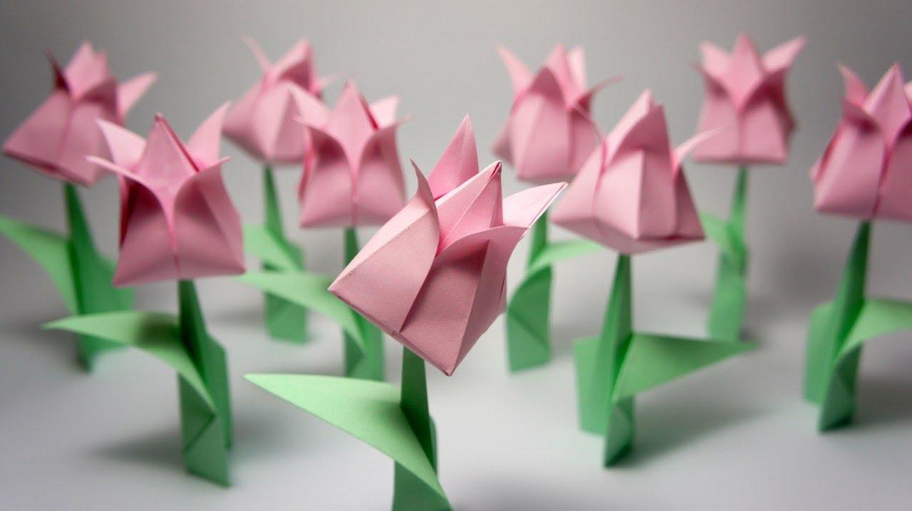 Тюльпан из бумаги своими руками пошаговая инструкция