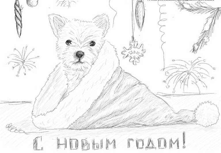 Нарисовать новогоднюю картинку карандашом, открытки дню