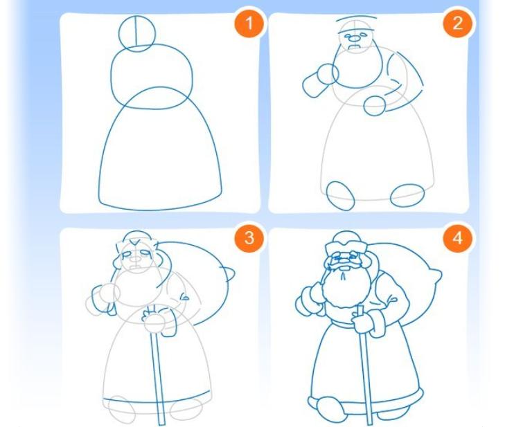 Как нарисовать новогоднюю открытку карандашом поэтапно для детей