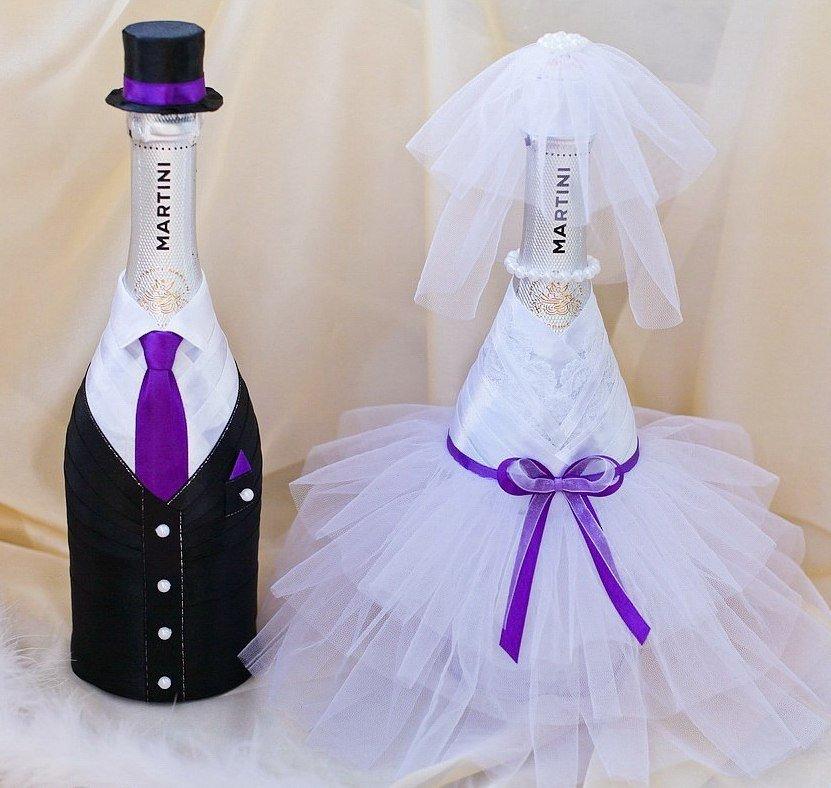1-3 Украшение шампанского на свадьбу - Pion-decor