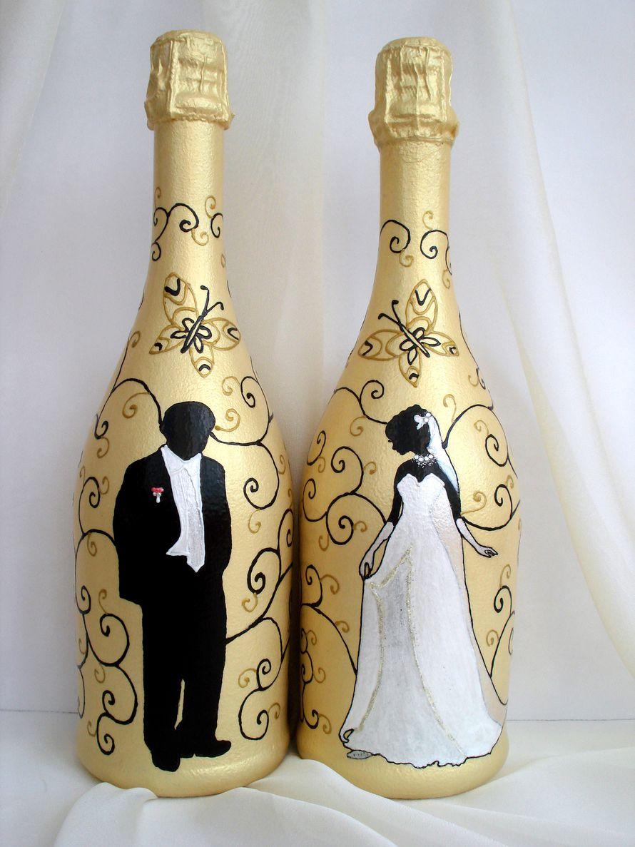 2-6 Украшение шампанского на свадьбу - Pion-decor