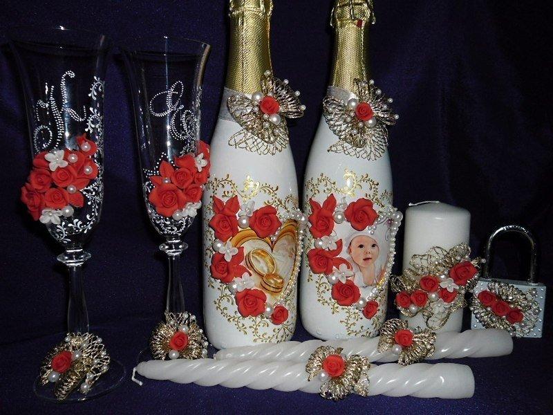 3-7 Украшение шампанского на свадьбу - Pion-decor