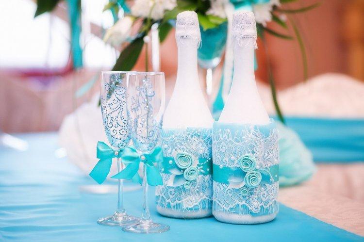 4-3 Украшение шампанского на свадьбу - Pion-decor