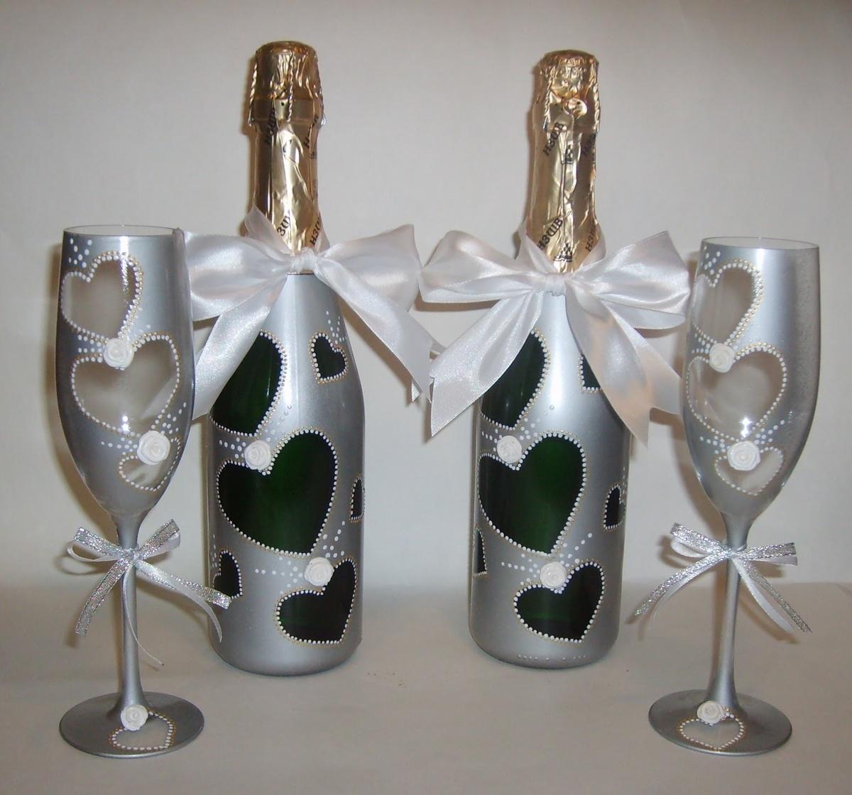 6-8 Украшение шампанского на свадьбу - Pion-decor