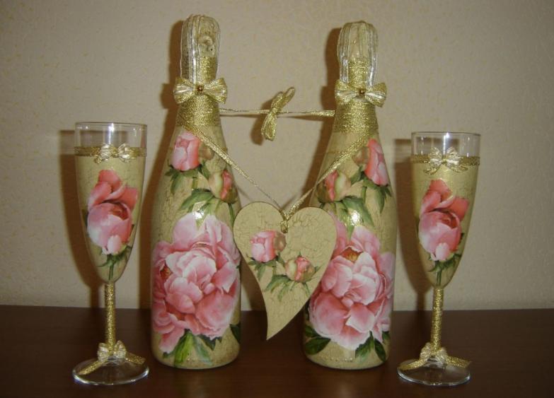 7 Украшение шампанского на свадьбу - Pion-decor