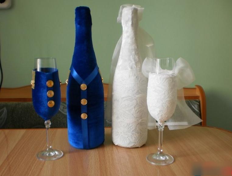 8-1 Украшение шампанского на свадьбу - Pion-decor